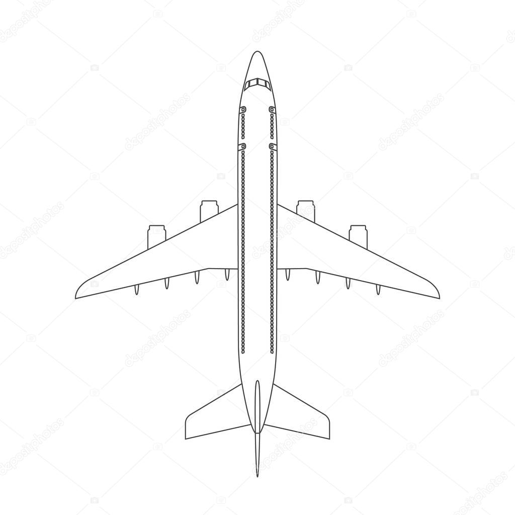 Airplane Top View Icon With Trendy Line Or Outline Stroke