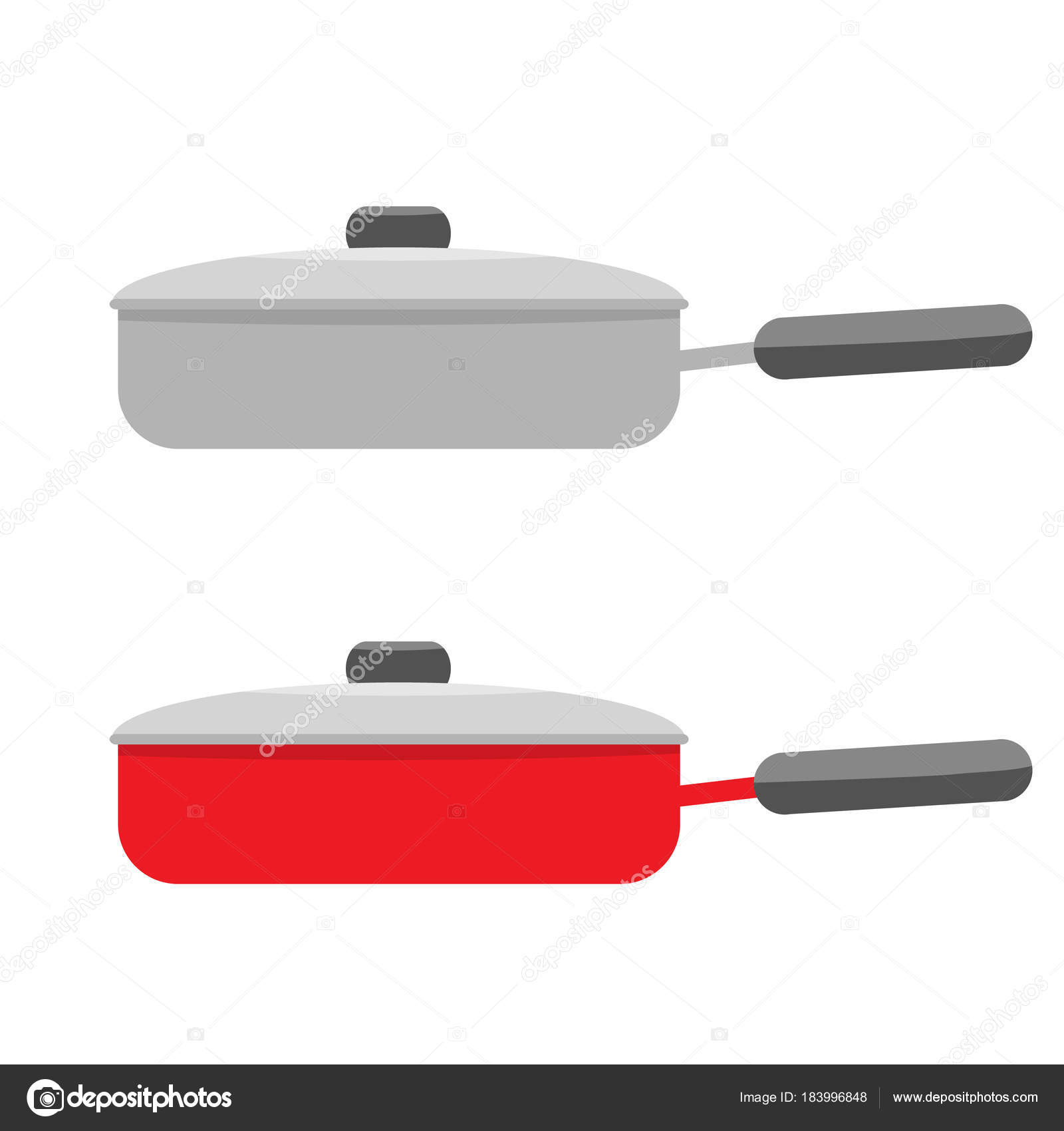home kitchen equipment restain cabinets 平底锅煮钢家用厨房设备盖 侧面视图 图库矢量图像 c zeynurbabayev 图库矢量图片