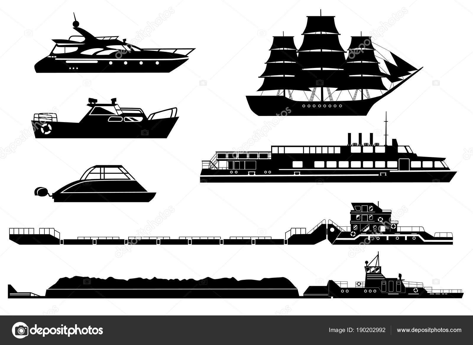 Conjunto De Barcos De Pasajeros Y Yates Y Remolcadores