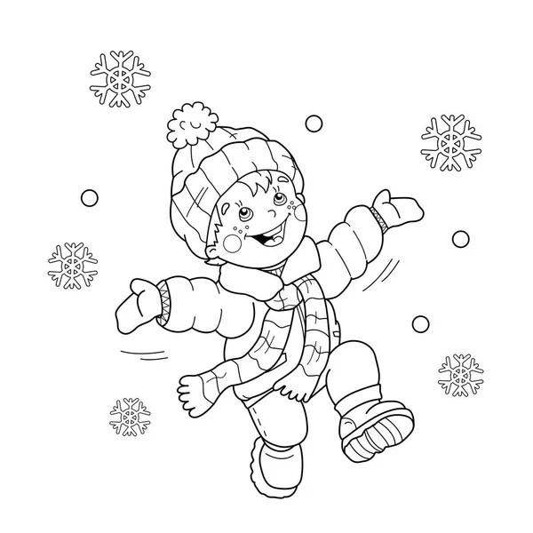 Coloring Page Outline Of cartoon boy jumping for joy
