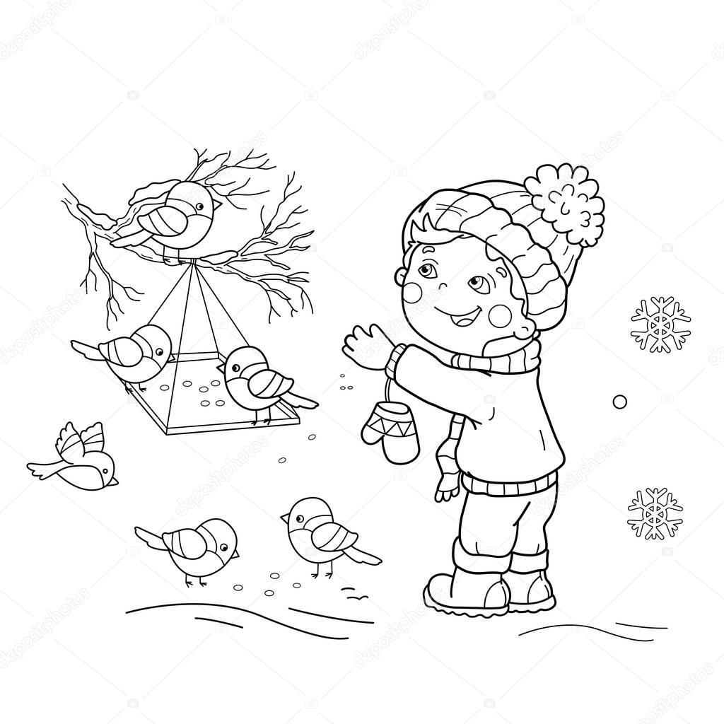Barevne Stranky Osnovy Z Kreslen Chlapec Krmeni Ptak
