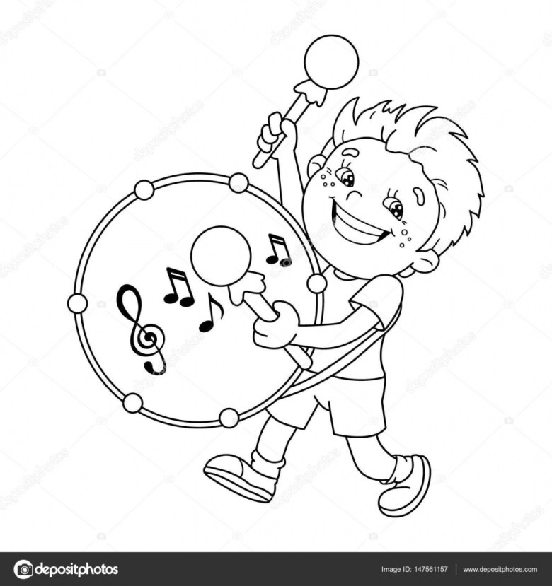 coloring page outline of cartoon boy playing the drum. musical
