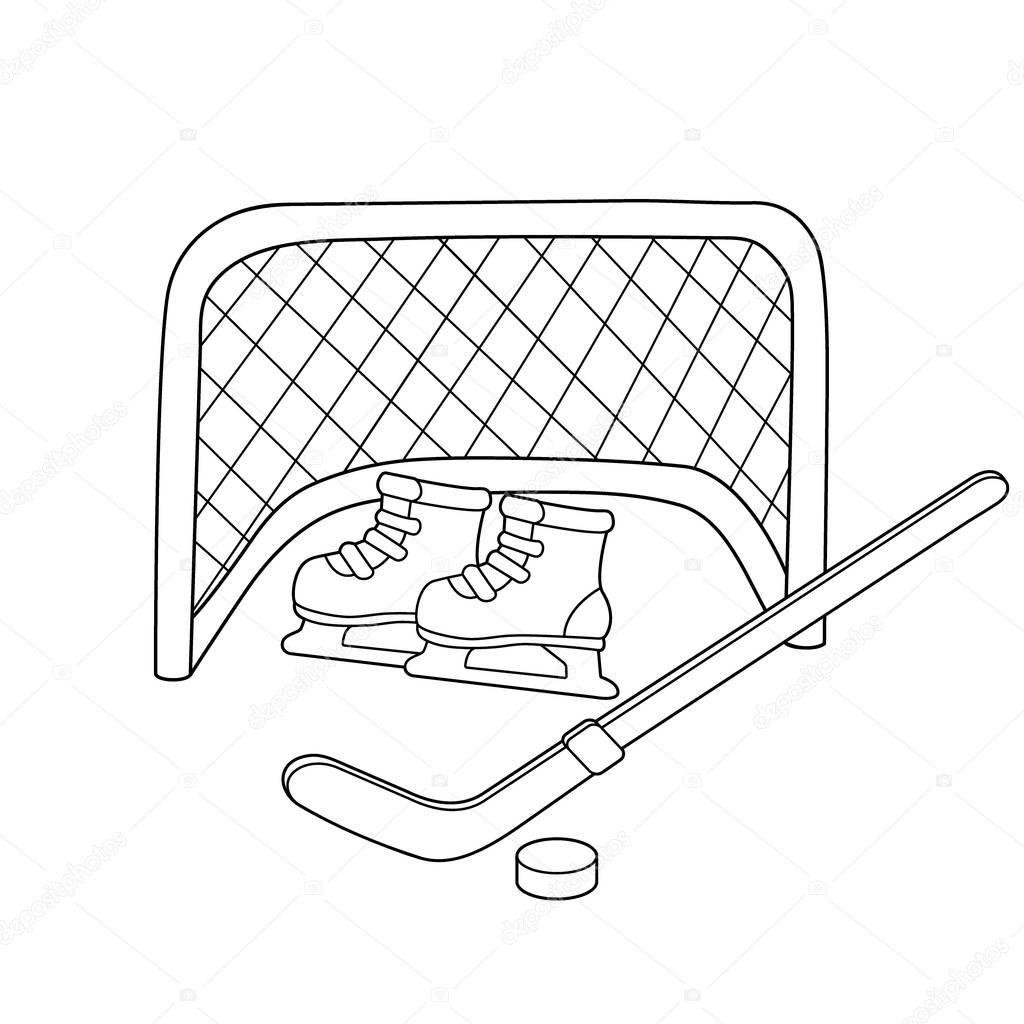 Hockey. Patines. Palo de hockey. Deportes de invierno
