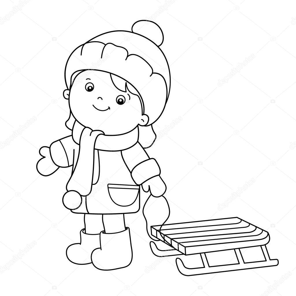 Kleurplaat Pagina Overzicht Van Cartoon Meisje Met Slee