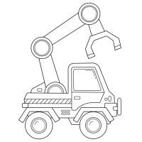 Farbbild eines Cartoon Traktors auf weißem Hintergrund ...
