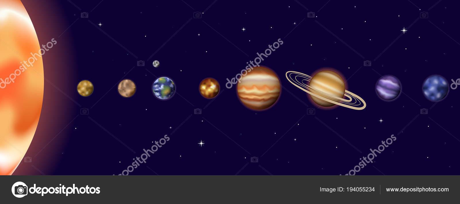 hight resolution of vector illustration of sun system with sun mercury venus earth moon mars jupiter saturn uranus neptune diagram with order of planet orbit