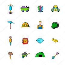 Iconos De La Industria Explotaci Minera Set Dibujos