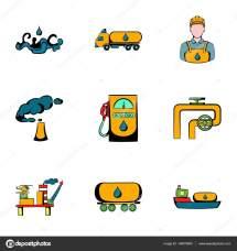 Conjunto De Iconos La Industria Del Aceite Estilo