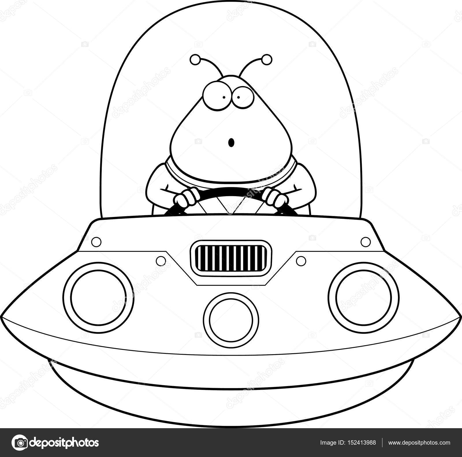 Surprised Cartoon Alien Ufo