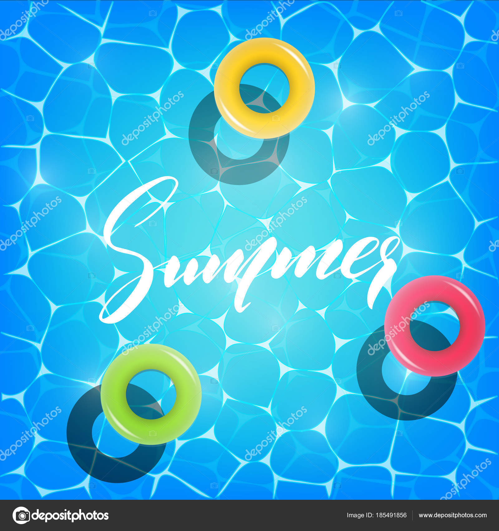 Summer Pool Party. Illustration Of Summer Pool Party Invitation, Banner.  Shiny Pool Water