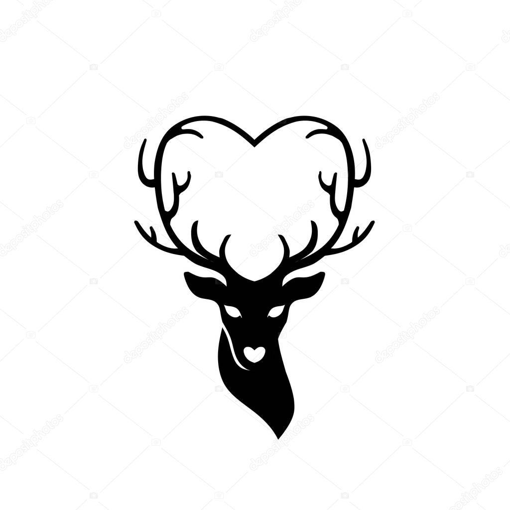 Download Head of deer with antlers love — Stock Vector © krustovin ...