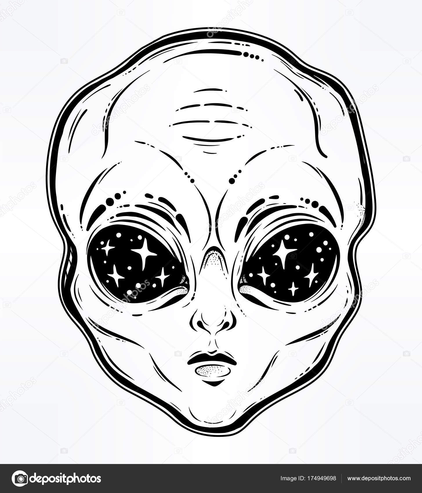 Vector Illustration With A Alien Head With Starry Eyes