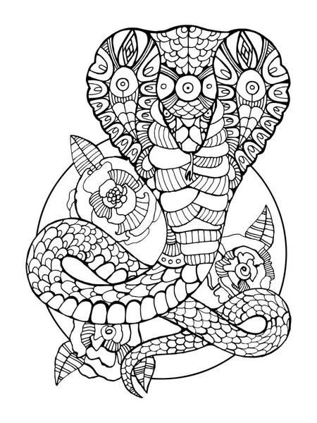 Cobra slang kleur tekening vector — Stockvector