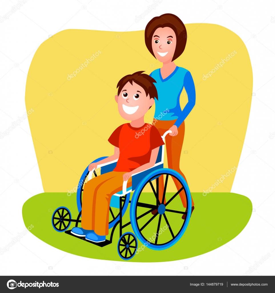 Mujer ayudando a discapacitados a persona en vector de
