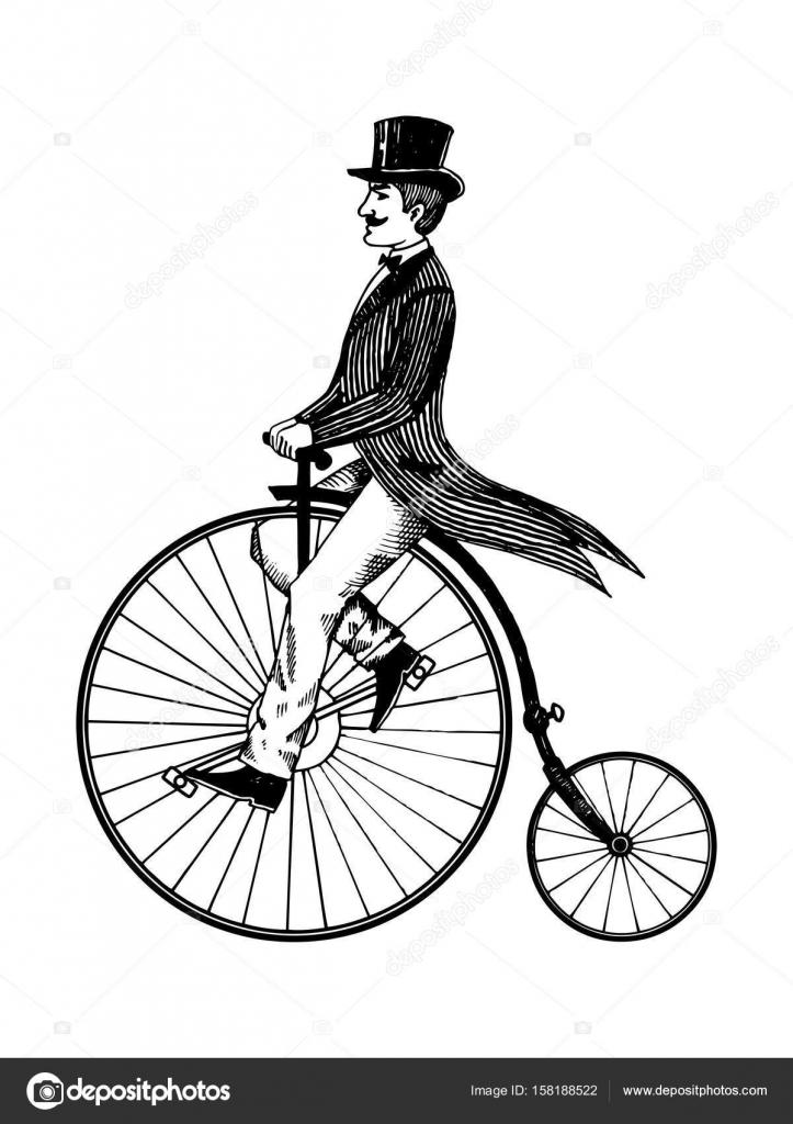 Homem em retro vintage velho bicicleta gravura vetor