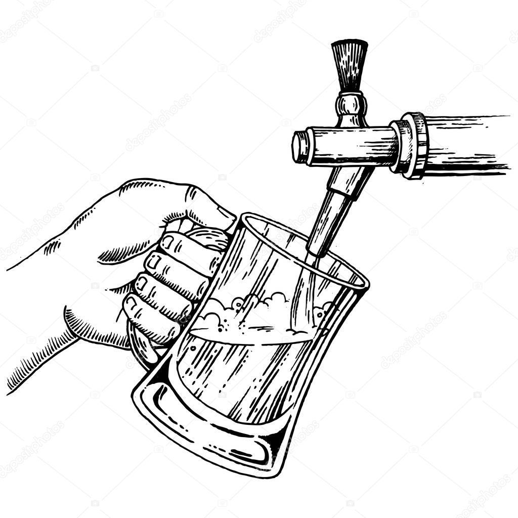 Bier Gie T Glas Vom Zapfhahn Gravur Vektor