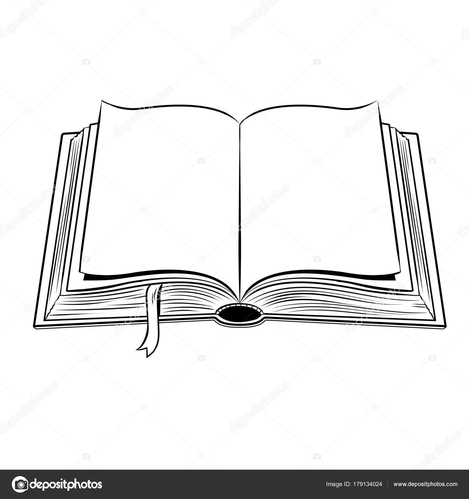 Livro Aberto Colorir Ilustracao Vetorial