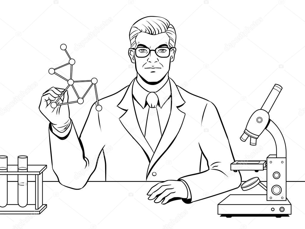 Medical chemist scientist coloring book vector — Stock