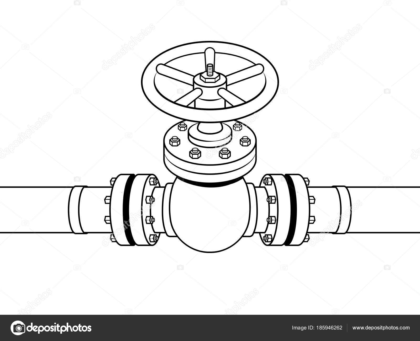 Yellow gas pipe with red valve coloring vector — Stock