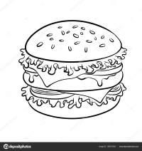 Sandwich de hamburguesa para colorear vector libro