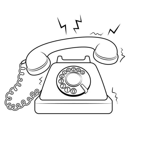 Teléfono antiguo para colorear ilustración vectorial del