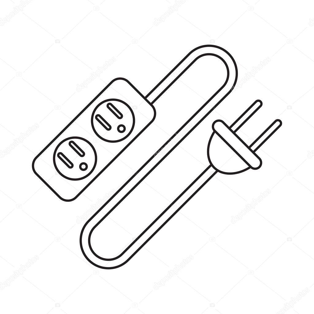 fiche et cordon de rallonge électrique pictogramme — Image