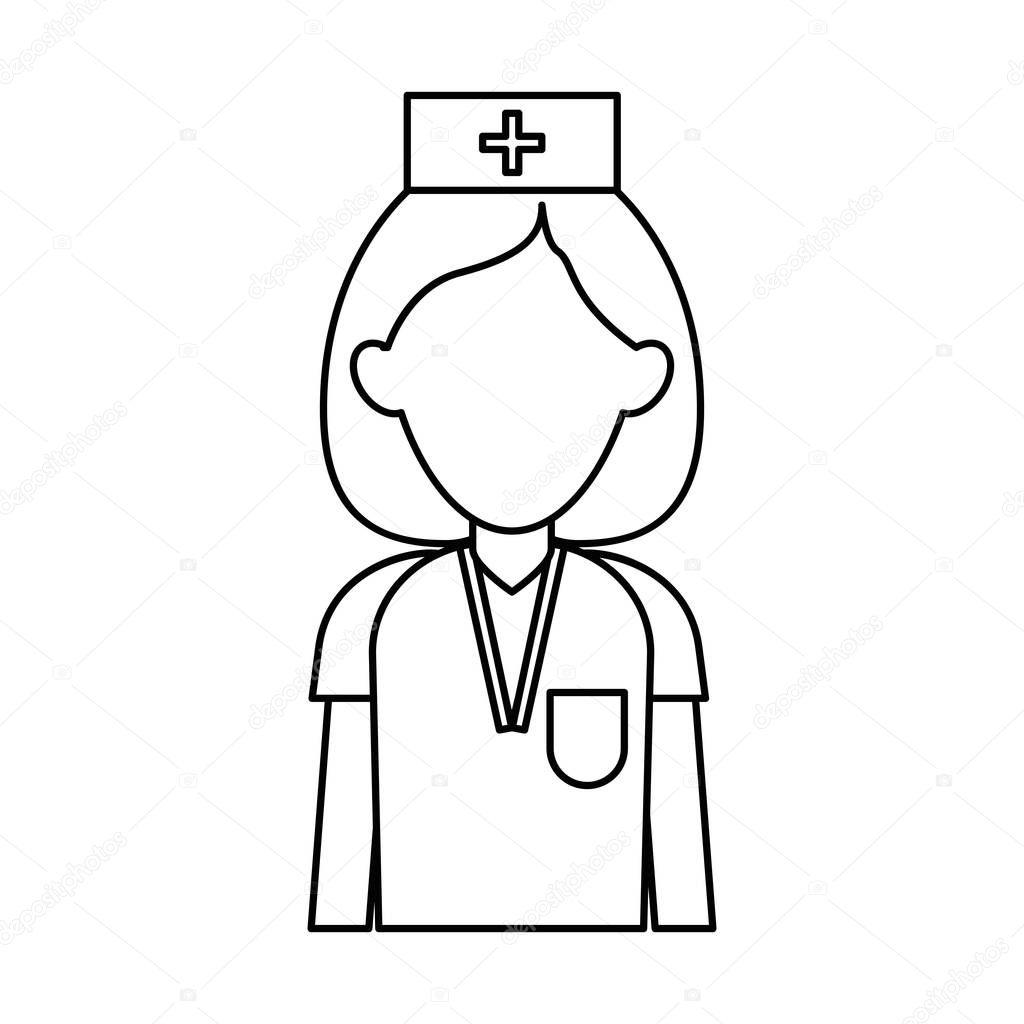 Professional nurse hat uniform medical outline — Stock