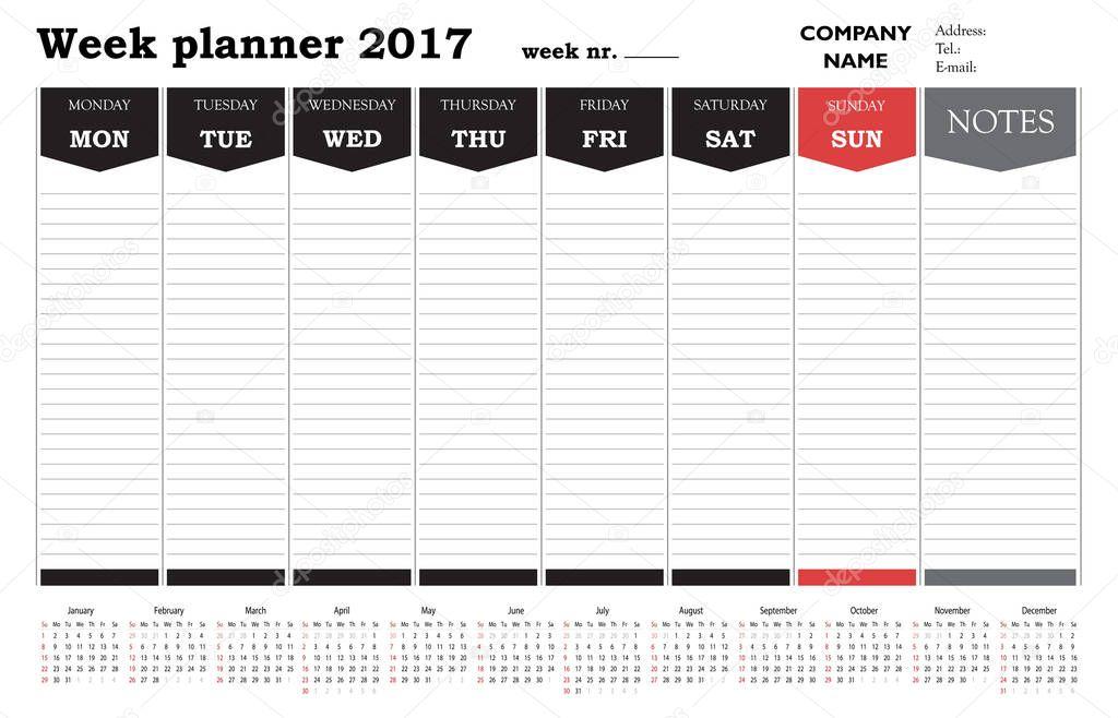Week planner kalender 2017 voor bedrijven en privé gebruikt - organisator en planning — Stockvector © Vectorscore #129628736