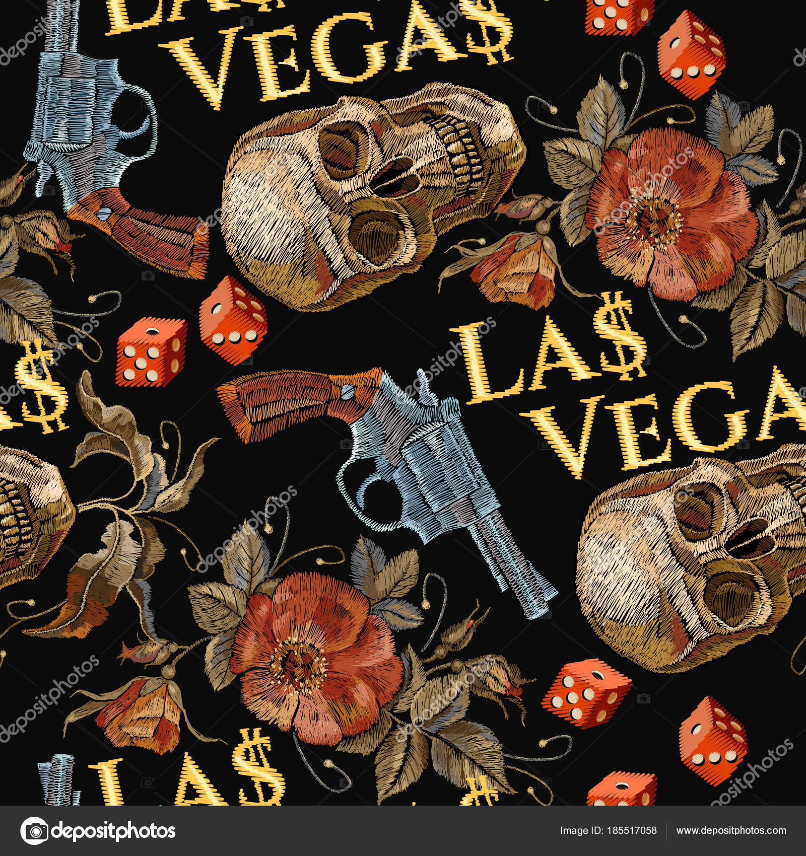 embroidery skulls and guns