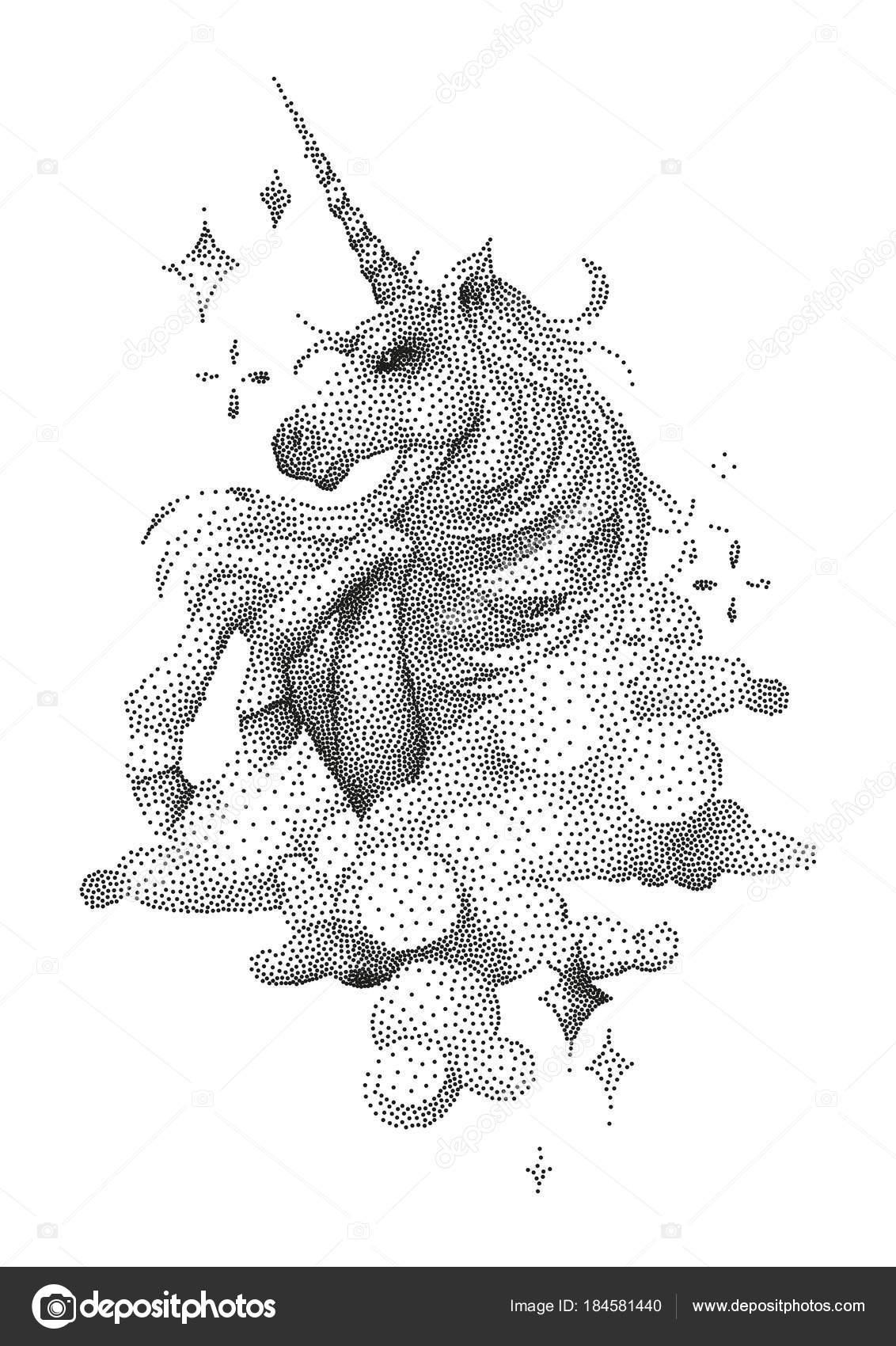Graphic Unicorn In Stippling Technique