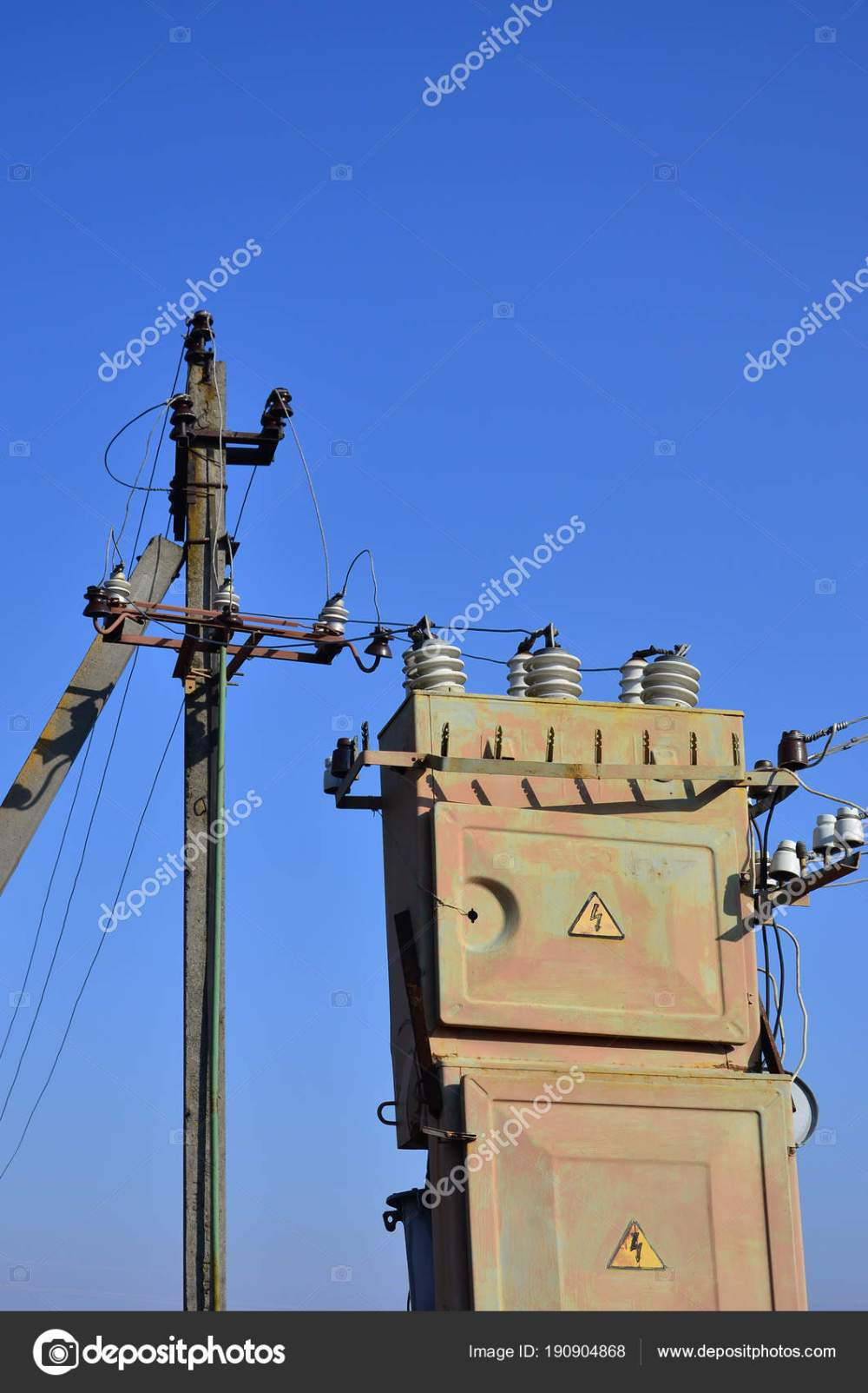 medium resolution of old obsolete electrical transformer background cloudless blue sky device distribution stock photo