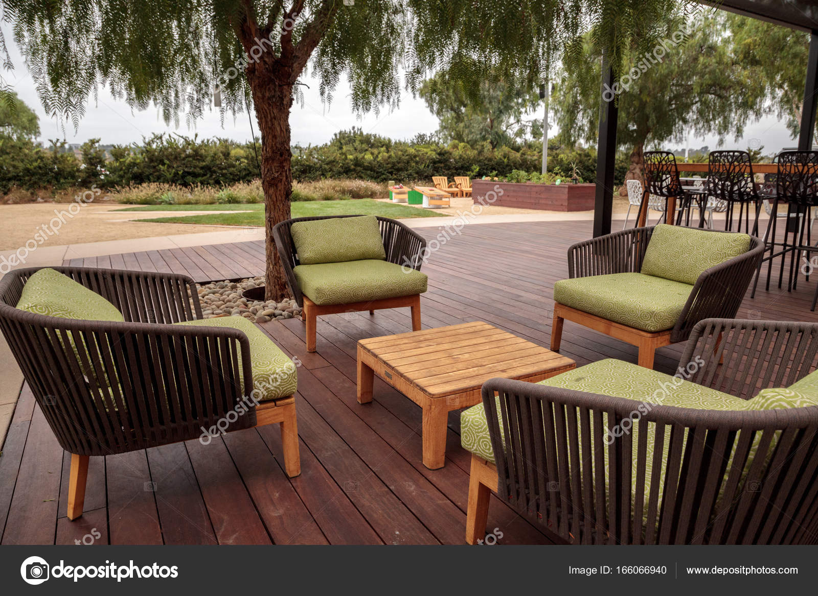 https depositphotos com 166066940 stock photo wood patio lounge chairs with html