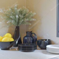 Kitchen Pantry Grey Table 黑色和白色厨房用具的现代食品储藏室 图库照片 C Worldwide Stock 127377000