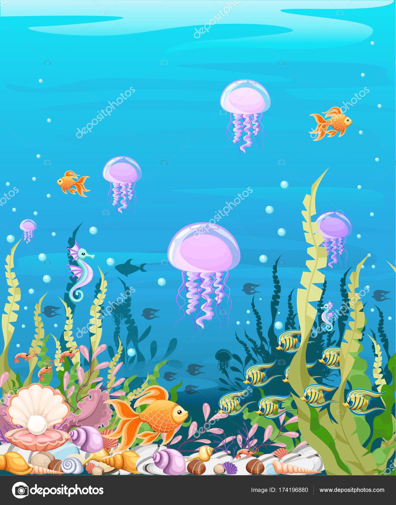 Sottomarino Con Pesce Paesaggio Marino Vita Oceano Mondo
