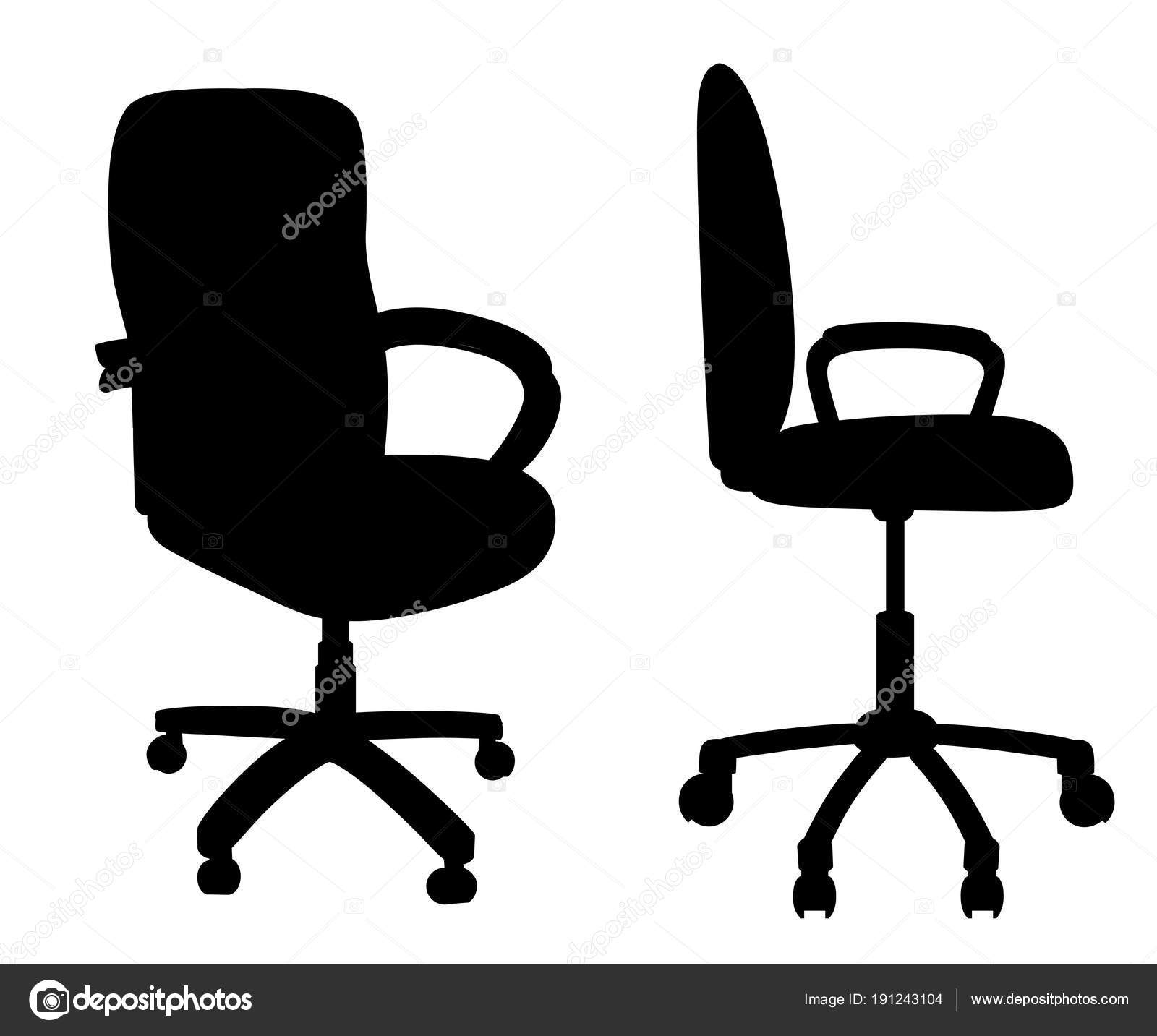 office chair illustration metal chairs and table black isolated on white background empty seat for employee ergonomic armchair executive director furniture icon vector