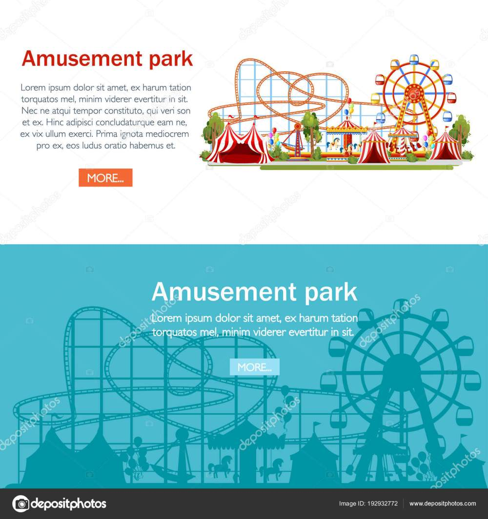 medium resolution of amusement park cartoon style design roller coaster carousel pirate ship and red