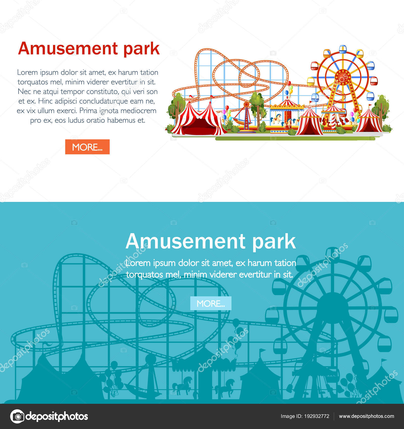 hight resolution of amusement park cartoon style design roller coaster carousel pirate ship and red