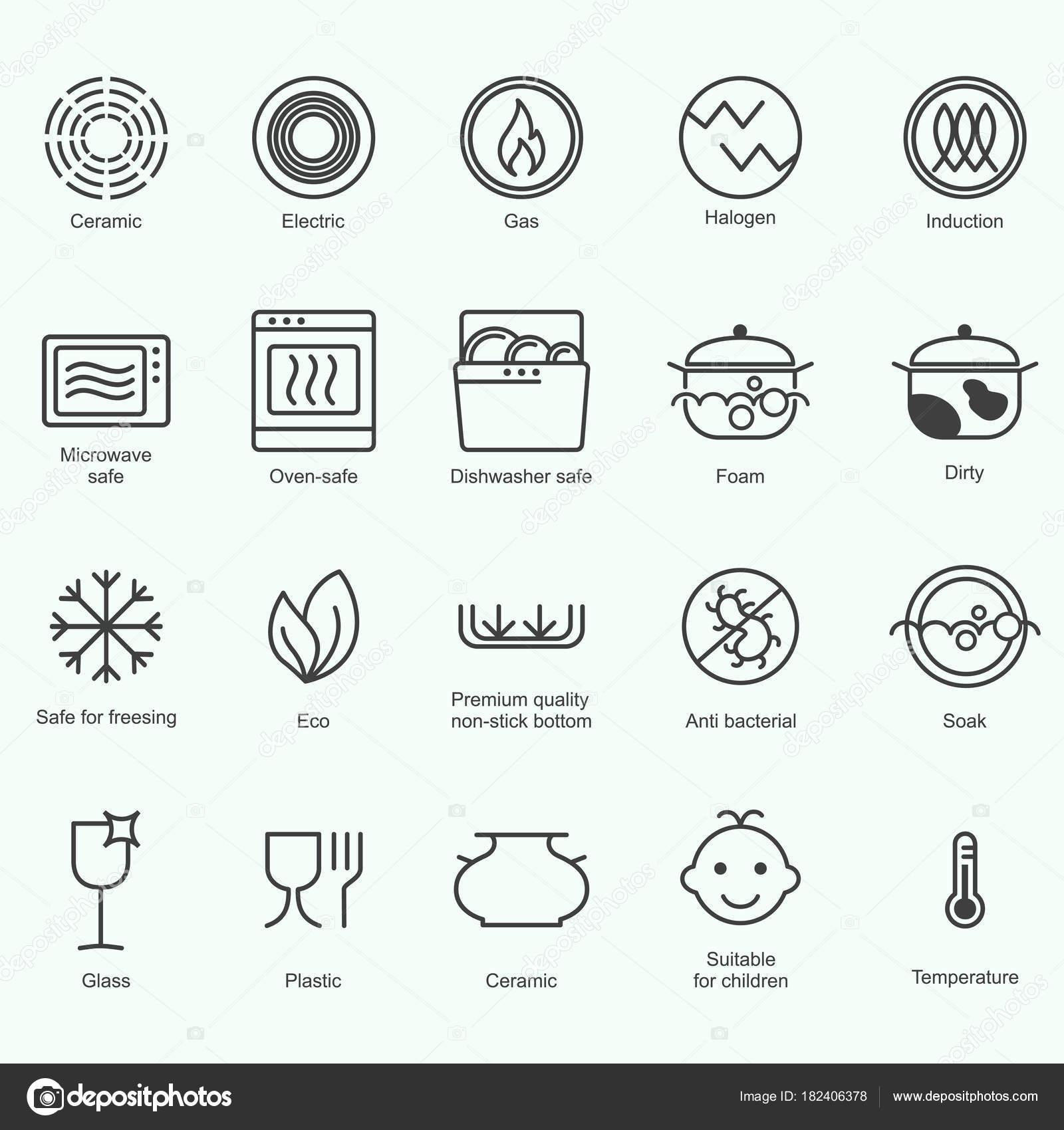 Simbolos De Metal De Grau Alimentar Indicam Propriedades E