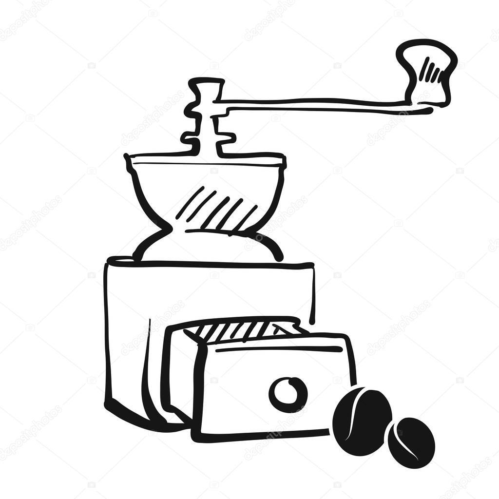 Main de moulin à café dessin — Image vectorielle mail
