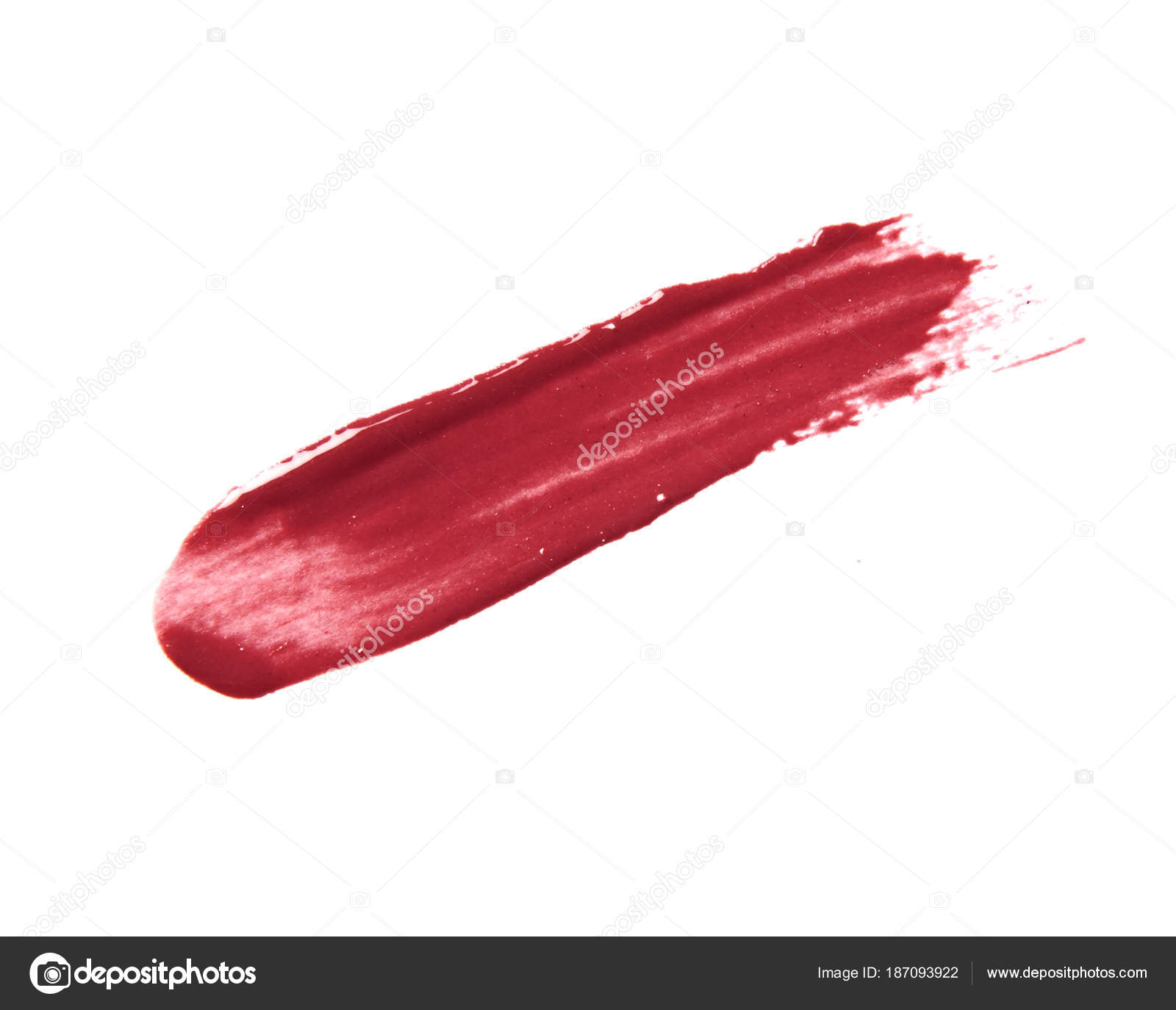 red lipstick stroke isolated