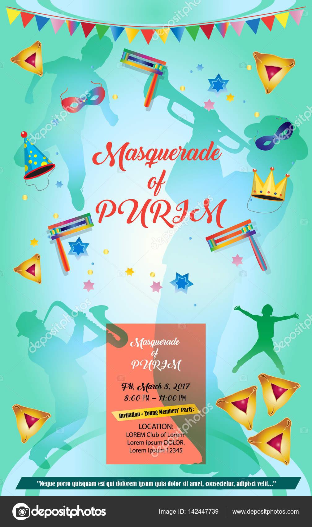 Happy PURIM Carnival Festival Masquerade Music Poster