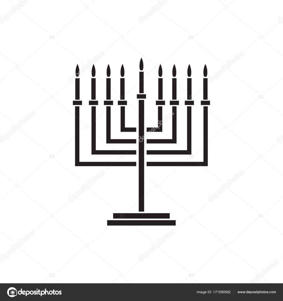 Menorah Jewish holiday Hanukkah logo with traditional