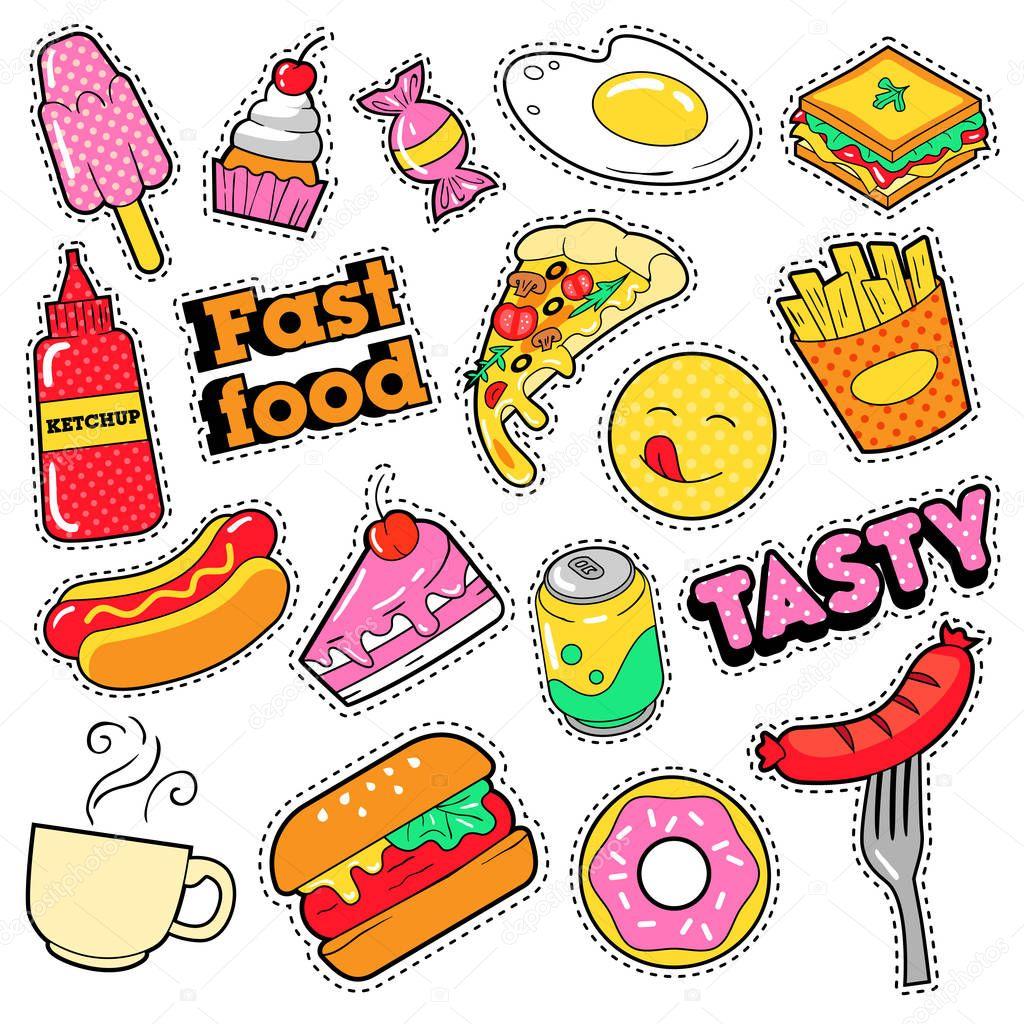 Imgenes stickers de comida  Comida rpida insignias