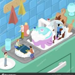 Kitchen Aid Bowls Outdoor Griddle 微型人洗碗在厨房里 矢量平面3d 等距图 图库矢量图像 C Vectorlab 图库