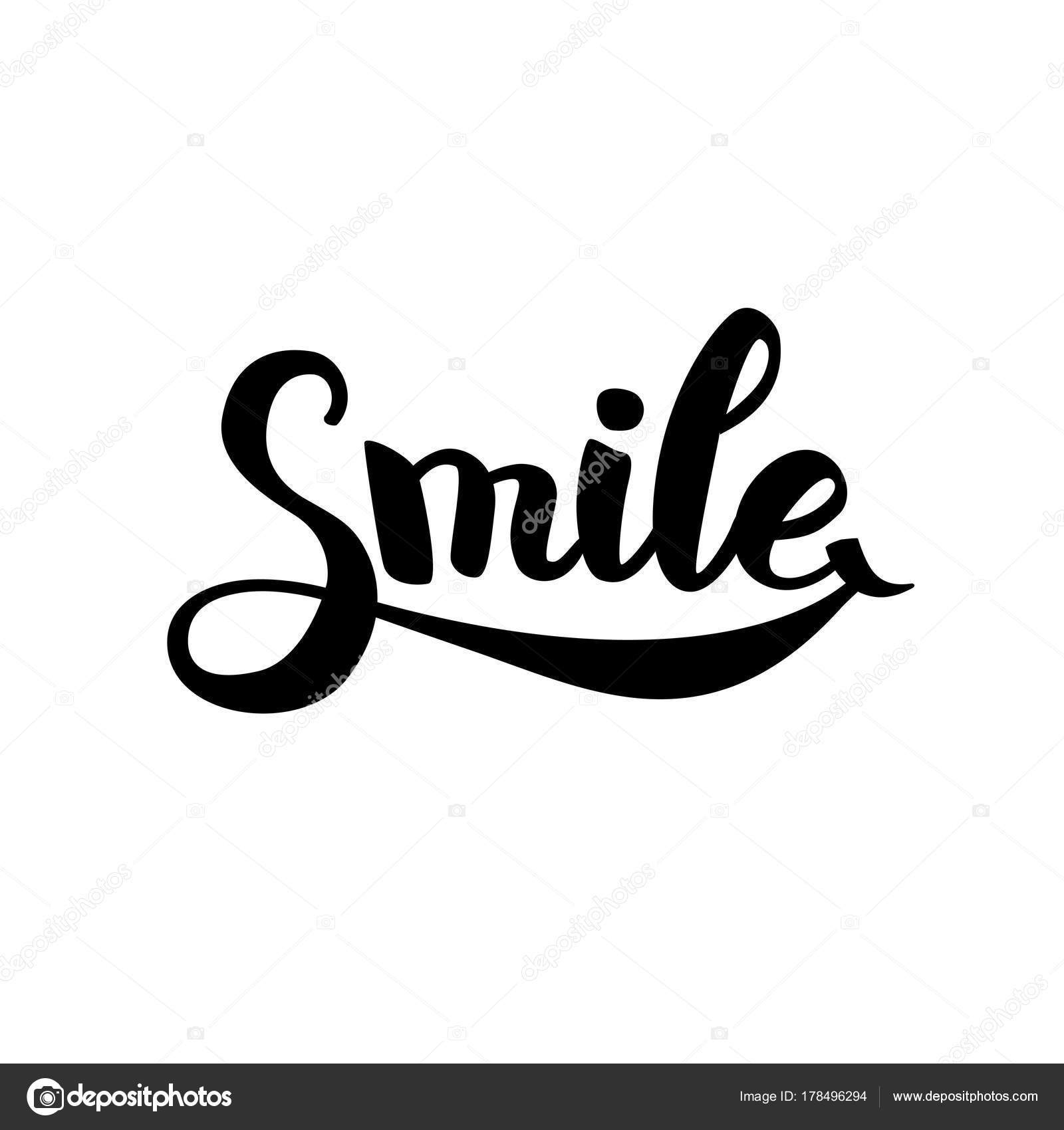 Smile Typography Logo Hand Draw Logotype Smiley Laugh