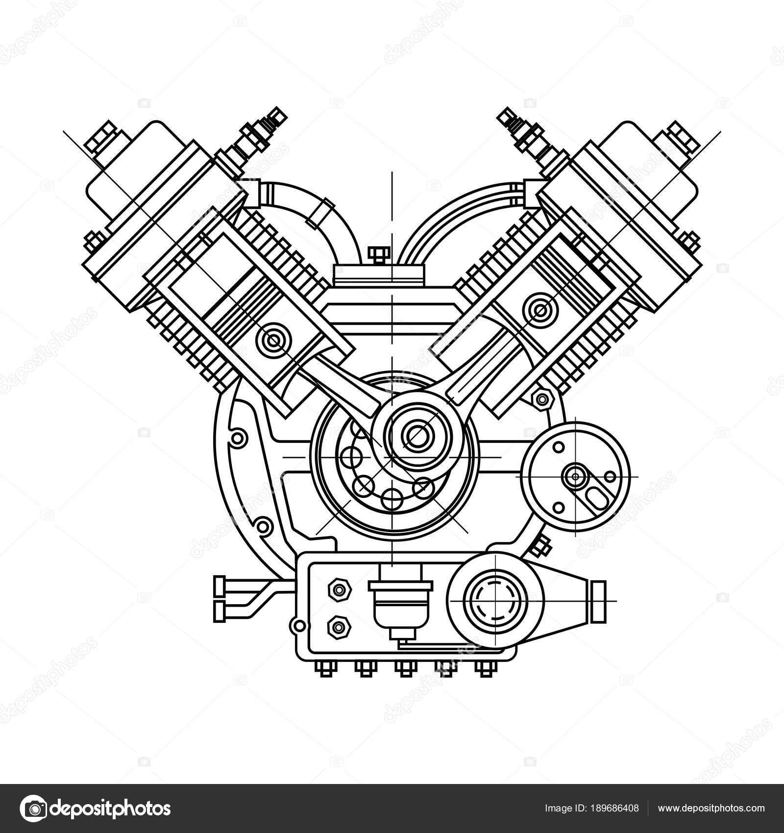 Un Motore A Combustione Interna Il Motore Di Disegno