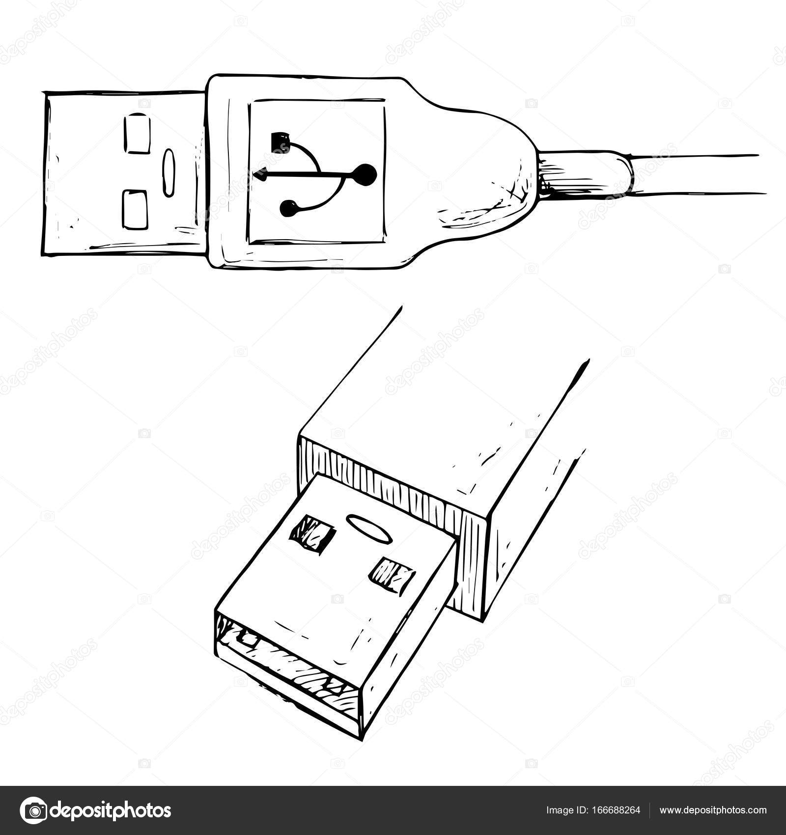 USB type A connector plug. USB cable vector illustration