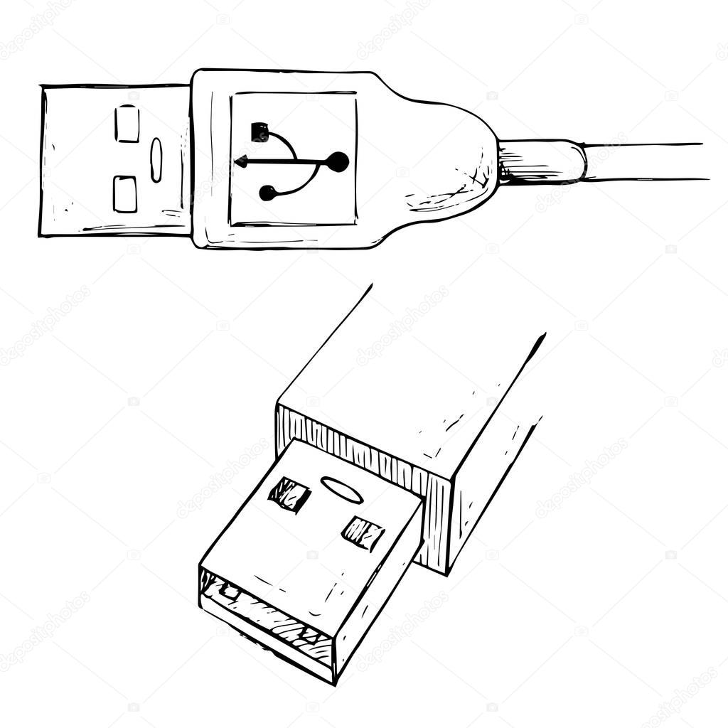 Usb Type A Connector Plug Usb Cable Vector Illustration