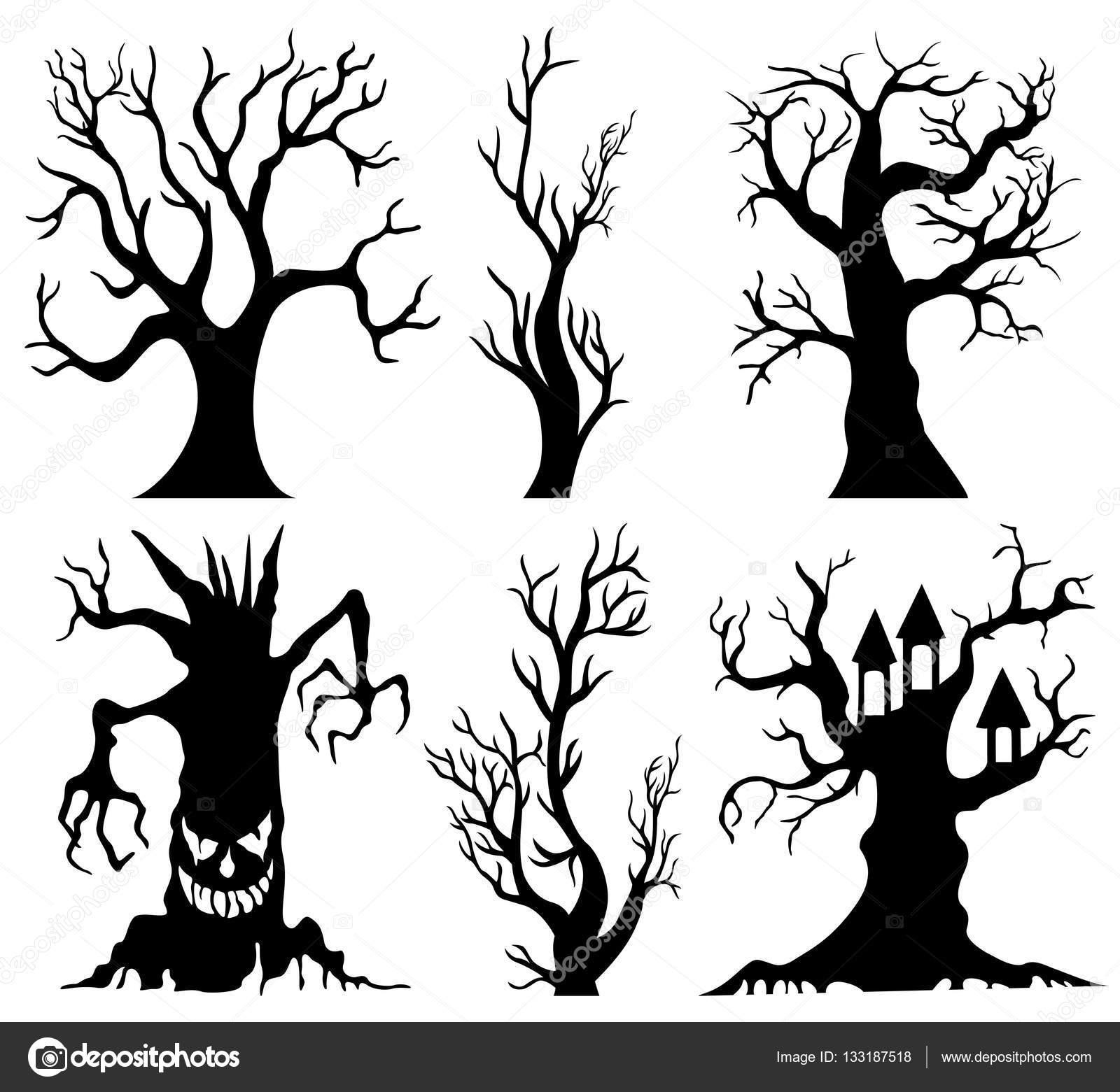 Ensemble De Spooky Dessin Anime Arbre D Halloween