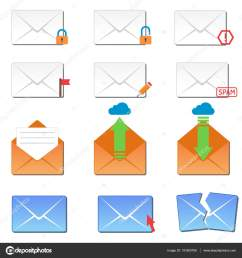 email envelope cover icons communication set and office correspondence blank cover address design paper empty card business writing message vector  [ 963 x 1024 Pixel ]